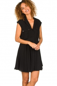 Patrizia Pepe |  Dress with pleated skirt Lucie | black  | Picture 4