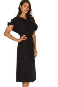 Patrizia Pepe |  Maxi dress with ruffles Philly | black  | Picture 5