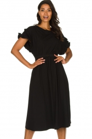 Patrizia Pepe |  Maxi dress with ruffles Philly | black  | Picture 2