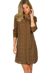 Patrizia Pepe | Dress with Swarovski stones Lidia | brown  | Picture 4
