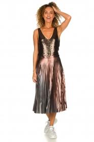 Patrizia Pepe |  Metallic plisse skirt Hannah | metallic  | Picture 3