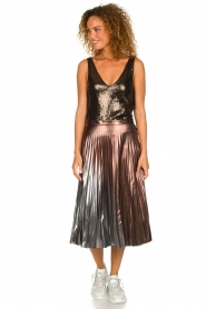 Patrizia Pepe |  Metallic plisse skirt Hannah | metallic  | Picture 2