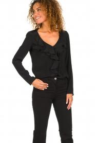 Patrizia Pepe |  Blouse with ruffles Vivian | black  | Picture 2