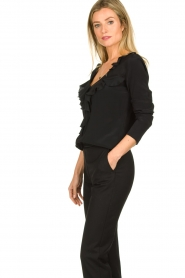 Patrizia Pepe |  Blouse with ruffles Vivian | black  | Picture 5