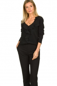 Patrizia Pepe |  Blouse with ruffles Vivian | black  | Picture 4