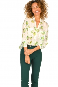 Patrizia Pepe |  Floral blouse Alaia | white  | Picture 2