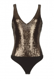 Patrizia Pepe |  Body top with sequins Rosanna | black  | Picture 1