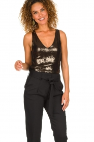 Patrizia Pepe |  Body top with sequins Rosanna | black  | Picture 6