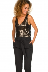 Patrizia Pepe |  Body top with sequins Rosanna | black  | Picture 2