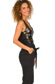 Patrizia Pepe |  Body top with sequins Rosanna | black  | Picture 4