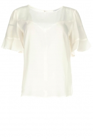 Patrizia Pepe |  Top with ruffle sleeves June | white  | Picture 1