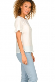 Patrizia Pepe |  Top with ruffle sleeves June | white  | Picture 4
