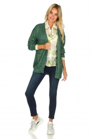 Patrizia Pepe |  Cardigan with lurex and sequins Nua | green  | Picture 3
