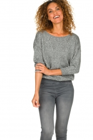 Patrizia Pepe |  Sweater with lurex and sequins Noelle | grey  | Picture 2