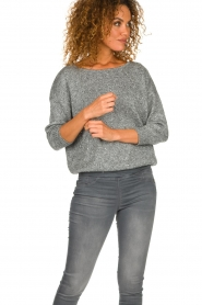 Patrizia Pepe |  Sweater with lurex and sequins Noelle | grey  | Picture 4