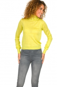Patrizia Pepe |  Lurex turtleneck sweater Lindy | yellow  | Picture 2