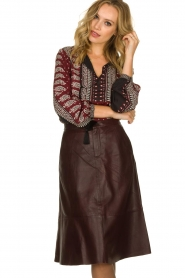 Set |  Leather midi skirt Yvette | brown  | Picture 2