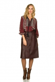 Set |  Leather midi skirt Yvette | brown  | Picture 3