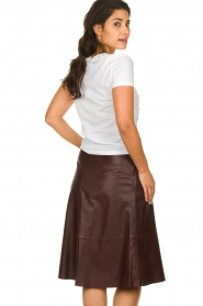 Set |  Leather midi skirt Yvette | brown  | Picture 5