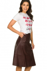Set |  Leather midi skirt Yvette | brown  | Picture 4