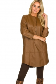 Set |  Leather tunic dress Marcia | brown  | Picture 4