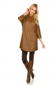Set |  Leather tunic dress Marcia | brown  | Picture 3
