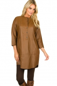 Set |  Leather tunic dress Marcia | brown  | Picture 2