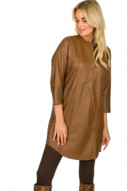 Set |  Leather tunic dress Marcia | brown  | Picture 5