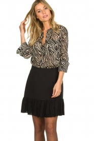 Set |  Animal print blouse Gaby | black & white  | Picture 2