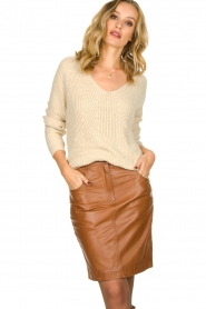 Set |  Knitted V-neck sweater Nicki | beige  | Picture 2