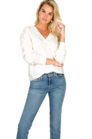 JC Sophie |  Blouse with playfully buttoned cuffs Aukje | white  | Picture 2