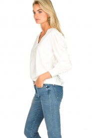 JC Sophie |  Blouse with playfully buttoned cuffs Aukje | white  | Picture 4
