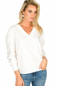 JC Sophie |  Blouse with playfully buttoned cuffs Aukje | white  | Picture 6