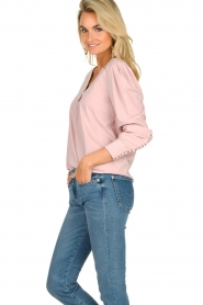 JC Sophie |  Blouse with playfully buttoned cuffs Aukje | pink  | Picture 4