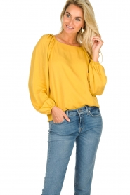JC Sophie |  Blouse with pleat details Ava | ochre  | Picture 2