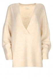 JC Sophie |  Knitted sweater with deep V-neck Amberlie | beige  | Picture 1