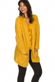 Be Pure |  Chunky knitted cardigan Charly| yellow  | Picture 4