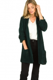 Be Pure |  Chunky knitted cardigan Charly | green  | Picture 2