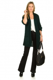 Be Pure |  Chunky knitted cardigan Charly | green  | Picture 3