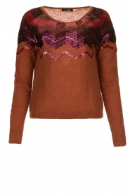 Fracomina |  Knitted sweater with sequins Madera | red  | Picture 1