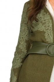Fracomina |  Knitted cardigan with lace details Daniel | green  | Picture 7