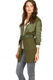 Fracomina |  Knitted cardigan with lace details Daniel | green  | Picture 5