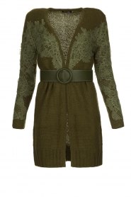 Fracomina |  Knitted cardigan with lace details Daniel | green  | Picture 1