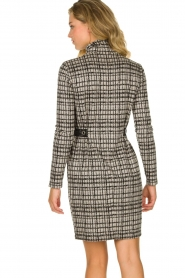 Patrizia Pepe |  Houndstrooth printed dress Benedict | beige  | Picture 5