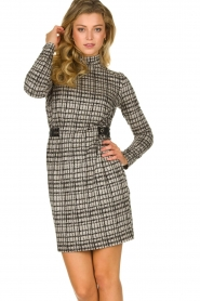 Patrizia Pepe |  Houndstrooth printed dress Benedict | beige  | Picture 2