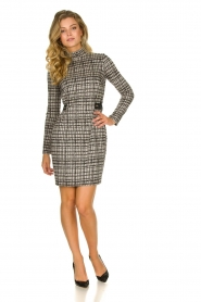 Patrizia Pepe |  Houndstrooth printed dress Benedict | beige  | Picture 3