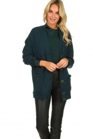 Patrizia Pepe |  Buttoned cardigan Anouk | green  | Picture 2