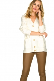 Patrizia Pepe |  Buttoned cardigan Anouk | natural  | Picture 2