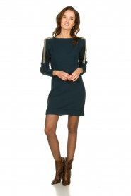 Patrizia Pepe |  Sweater dress with fringes Micky | blue  | Picture 3