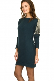 Patrizia Pepe |  Sweater dress with fringes Micky | blue  | Picture 4